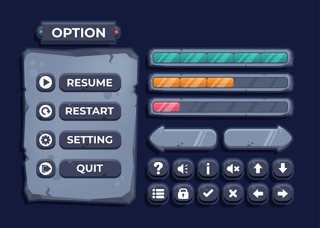 Diseño para un conjunto completo de elementos emergentes, iconos, ventanas y elementos emergentes del juego de botones de nivel para crear videojuegos de rol medievales