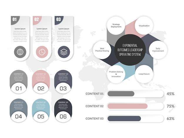 Diseño de conjunto de elementos de infografía