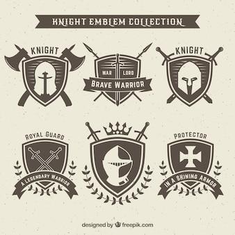 Diseño de conjunto de emblemas de caballero