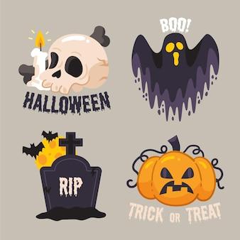Diseño de conjunto de etiquetas de venta de halloween