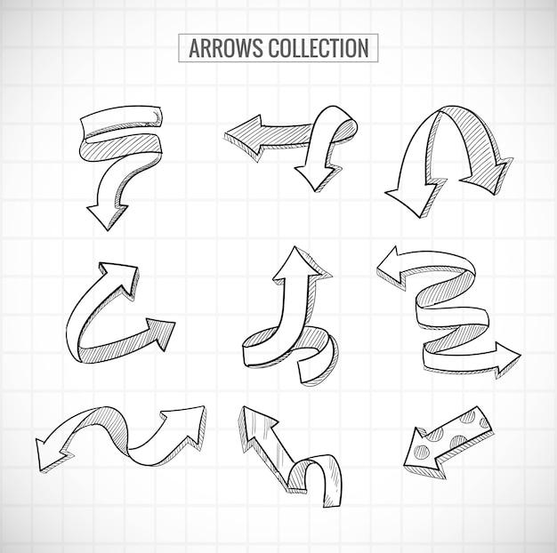 Diseño de conjunto de flechas de negocios creativos dibujados a mano