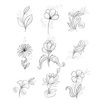 Diseño de conjunto de flores de boceto dibujado a mano realista moderno