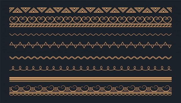 Diseño de conjunto de fronteras sin costuras étnicas de estilo boho