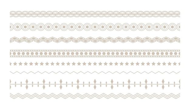 Diseño de conjunto de fronteras étnicas florales boho