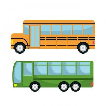 Diseño de conjunto de iconos de bus