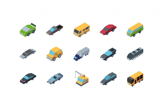 Diseño de conjunto de iconos de coches isométricos aislados