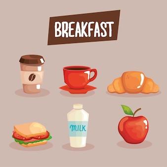 Diseño de conjunto de iconos de desayuno, comida y tema fresco.