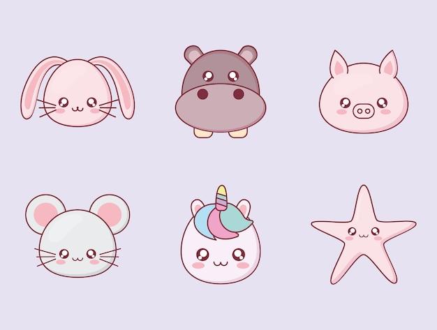 Diseño de conjunto de iconos de dibujos animados de animales kawaii, tema de emoticonos y divertidos personajes de expresión