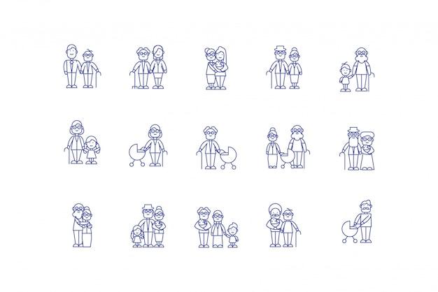 Diseño de conjunto de iconos de dibujos animados familiares aislados