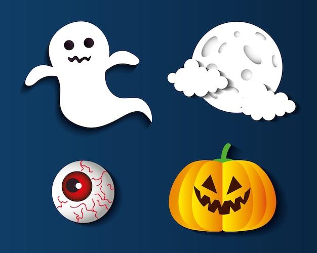 Diseño de conjunto de iconos de dibujos animados de halloween, tema de vacaciones y miedo