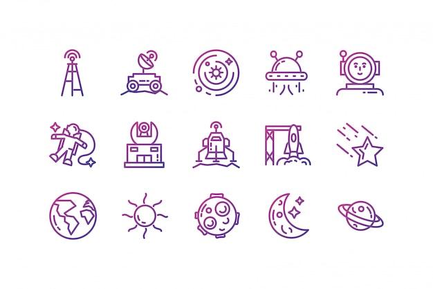 Diseño de conjunto de iconos de espacio aislado