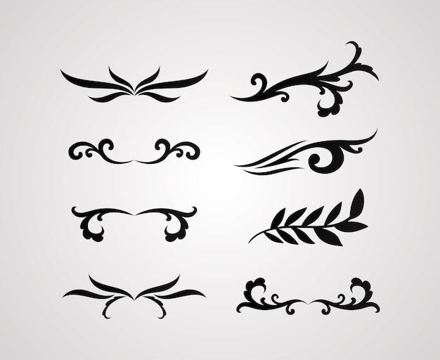 Diseño de conjunto de iconos de estilo de línea de adornos de divisores de tema de elemento decorativo
