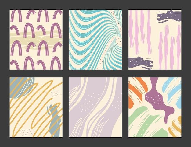 Diseño de conjunto de iconos de fondos de patrón abstracto, tema de arte y papel tapiz