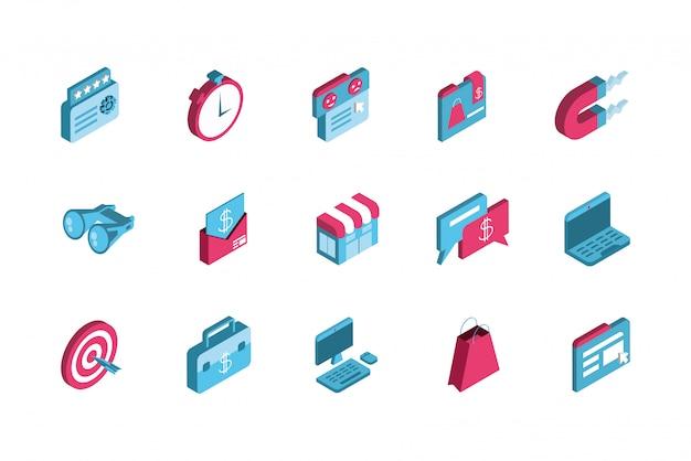 Diseño de conjunto de iconos de marketing digital aislado