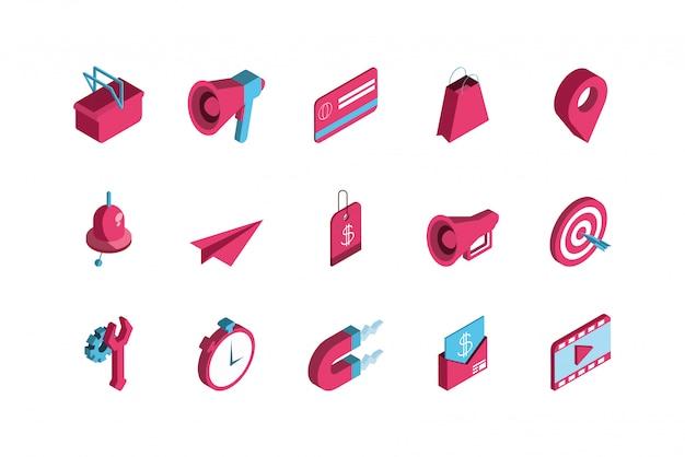 Diseño de conjunto de iconos de marketing digital rojo aislado