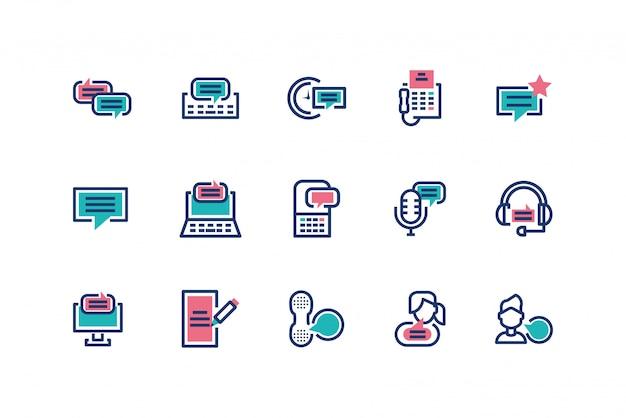 Diseño de conjunto de iconos de mensajes aislados