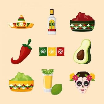 Diseño de conjunto de iconos mexicanos aislados