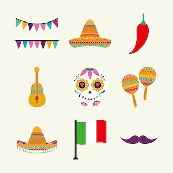 Diseño de conjunto de iconos mexicanos, tema de la cultura de méxico