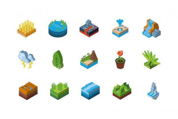 Diseño de conjunto de iconos de naturaleza isométrica aislado