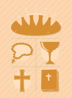 Diseño de conjunto de iconos de símbolos de bautismo