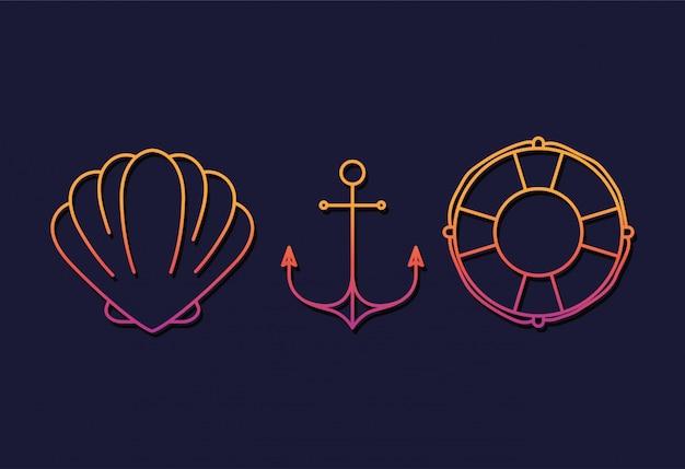 Diseño conjunto de iconos de verano y vacaciones