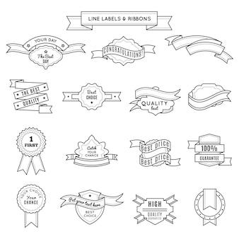 Diseño de conjunto de insignias y cintas en estilo lineal para el ganador del campeonato y la mejor calidad y descripciones de garantía