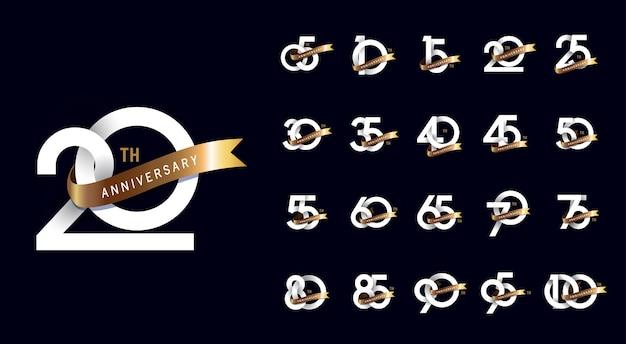 Diseño de conjunto de logotipo de celebración de aniversario