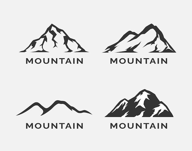 Diseño de conjunto de logotipo de silueta de montaña