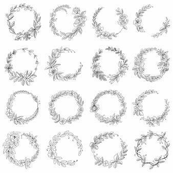 Diseño de conjunto de marco decorativo floral circular doodle