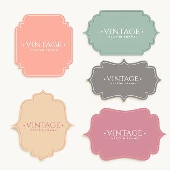 Diseño conjunto de marco de etiquetas vintage