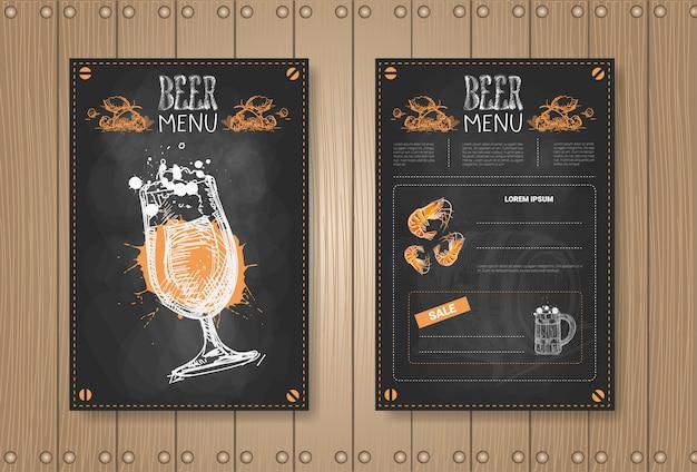 Diseño de conjunto de menú de cerveza para restaurante café pub tiza