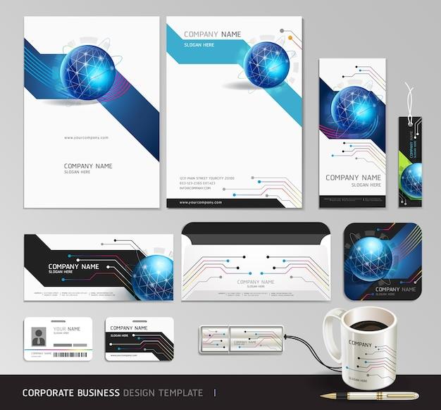 Diseño de conjunto de negocios de identidad corporativa. fondo abstracto