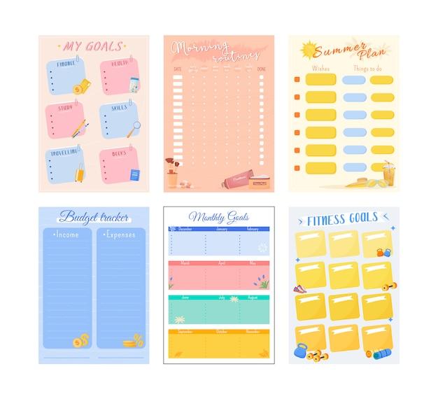 Diseño de conjunto de páginas de mis objetivos planificador creativo