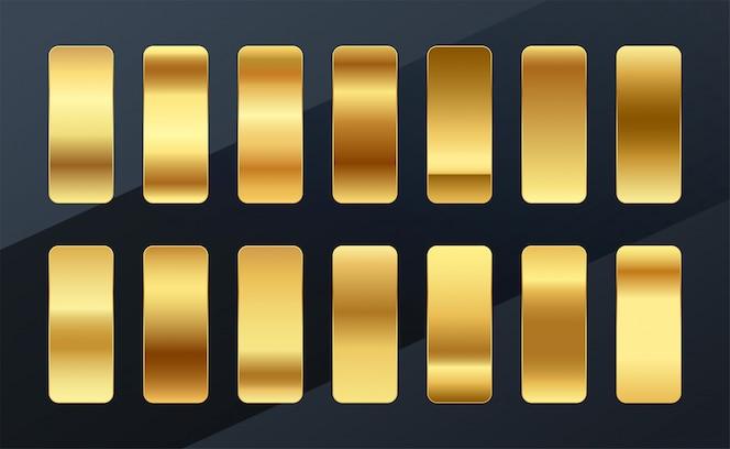 Diseño de conjunto de paleta de muestras de gradientes dorados premium