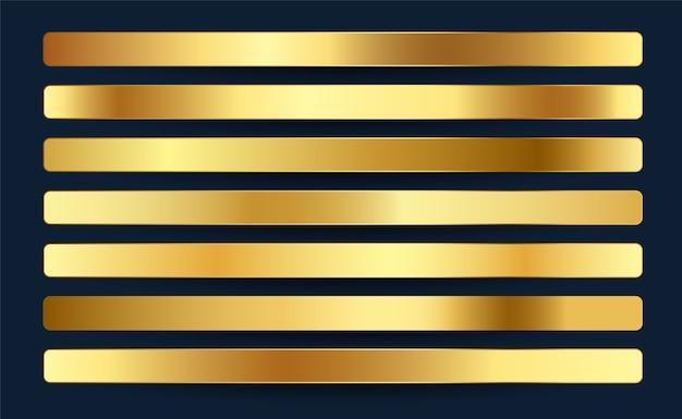 Diseño de conjunto de paleta de muestras de gradientes de oro real premium