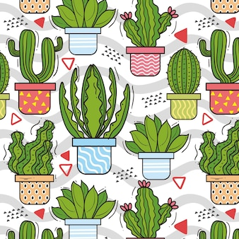 Diseño de conjunto de patrón de cactus