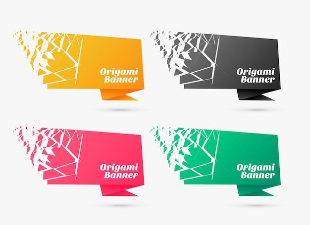 Diseño de conjunto de plantillas de banner de origami de estilo explosivo