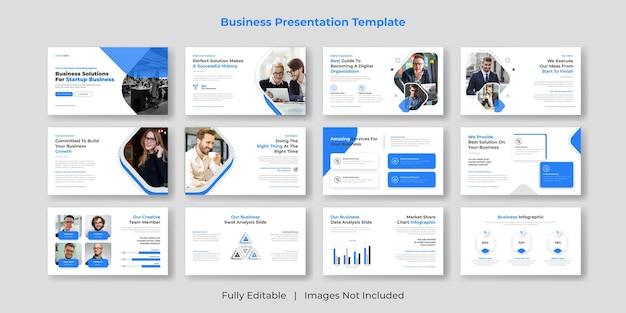 Diseño de conjunto de plantillas de diapositivas de presentación de powerpoint de negocios creativas y modernas