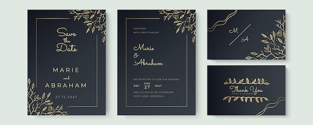 Diseño de conjunto de plantillas de invitación de boda. los elementos de textura floral dorada y los marcos dorados sobre un fondo negro están dibujados a mano.
