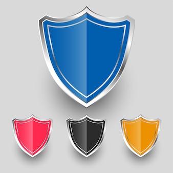 Diseño de conjunto de símbolos de escudo de insignias metálicas