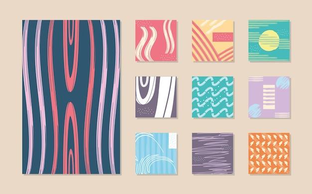 Diseño de conjunto de símbolos de fondos de patrón abstracto, tema de arte y papel tapiz