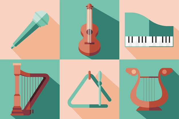 Diseño de conjunto de símbolos de instrumentos, melodía de sonido musical e ilustración de tema de canción