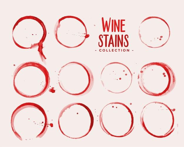 Diseño de conjunto de textura de mancha de copa de vino