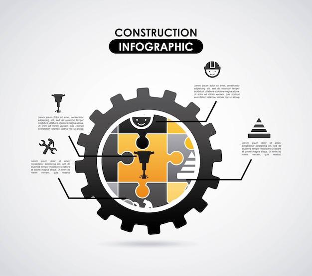 Diseño de la construcción sobre fondo gris ilustración vectorial