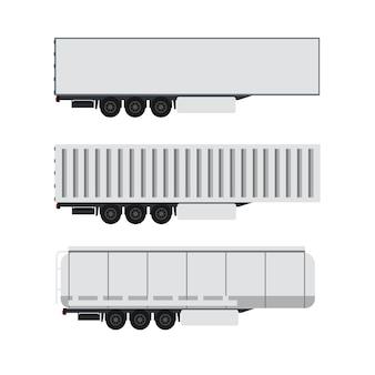 Diseño de contenedor de carga con camión remolque