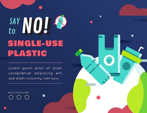 Diseño de contenido gráfico de plástico de un solo uso.