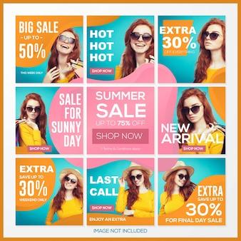 Diseño de contenidos en redes sociales con tema de venta de verano.