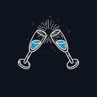 Diseño con copas de champán saludos