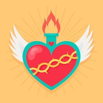 Diseño de corazón sagrado con alas