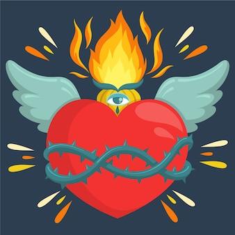 Diseño de corazón sagrado plano